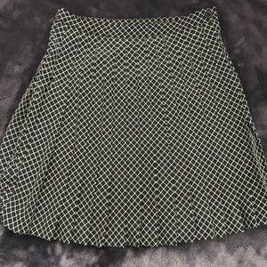 Express Pleated Skirt - Green Geometric Pattern